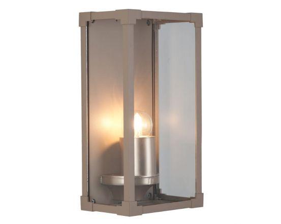 Outdoor Taupe Metal Box Lantern