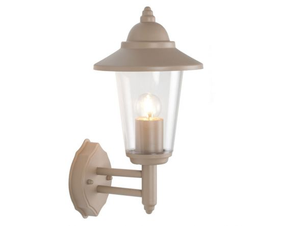 Outdoor Taupe Metal Curved Glass Lantern Wall Uplighter