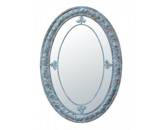 Oval Margin Blue Shabby Mirror