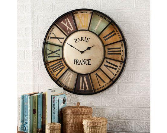 Paris Industrial Multi Colour Wall Clock