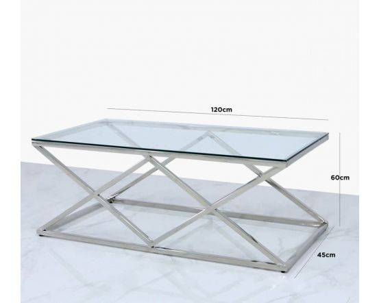 Pearl Stainless Steel and Glass Coffee Table