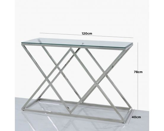 Pearl Stainless Steel and Glass Console Table