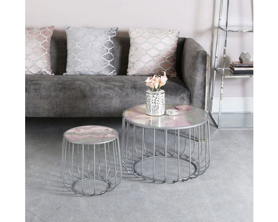Pink Patterned Top Set Of 2 Nesting Tables