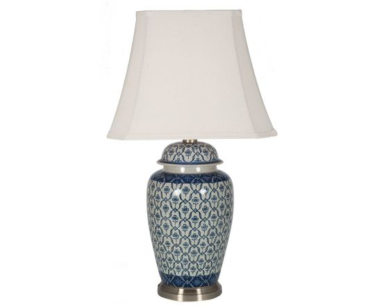 Porcelain Ginger Jar Blue and Cream table Lamp with White Shade