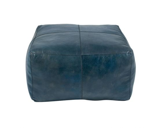 Prussian Blue Leather Square Pouffe