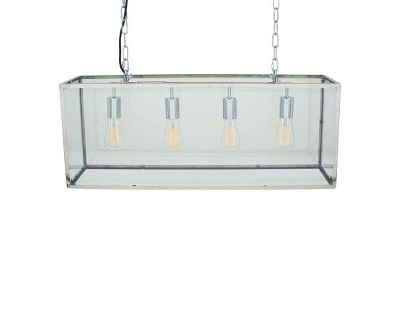 Rectangular 4 Bulb Glass Case Pendant