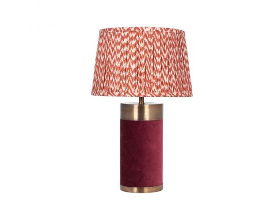 Red Velvet and Antique Gold Metal Table Lamp - Base Only