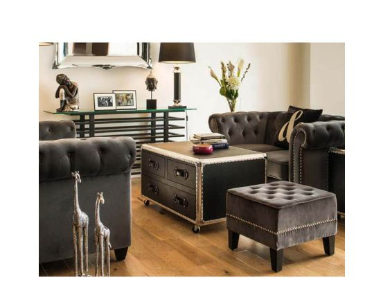 Industrial Black Coffee Table Chest