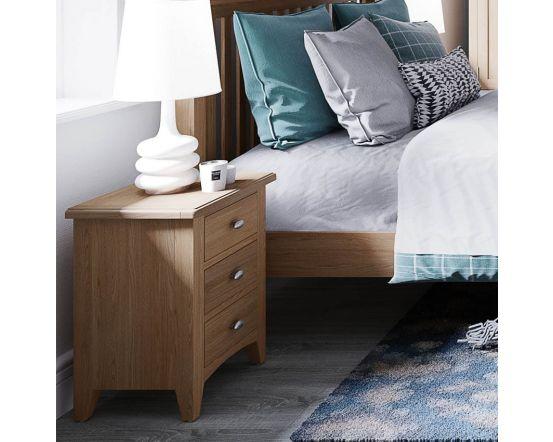 Richtown Oak 3 Drawer Bedside Cabinet