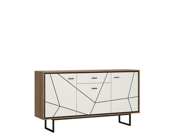 Rolo 2 Door TV Unit in White and Dark Wood