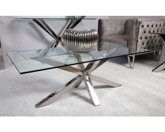 Rosa Glass & Chrome Coffee Table