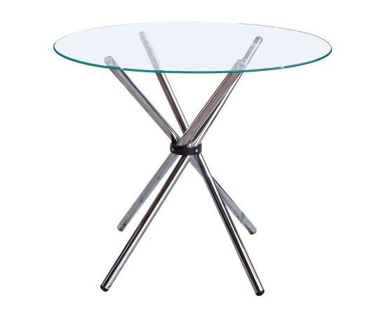 Round Clear Glass Dining Table With Chrome Finished Legs