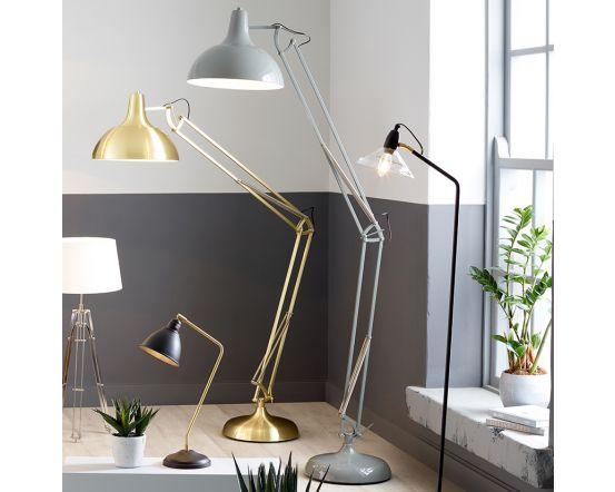 Round Shade Grey Painted Metal Task Floor Lamp