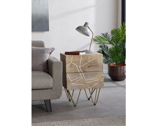 Sai Light Gold 2 Drawer Side Table With Gold Inlay