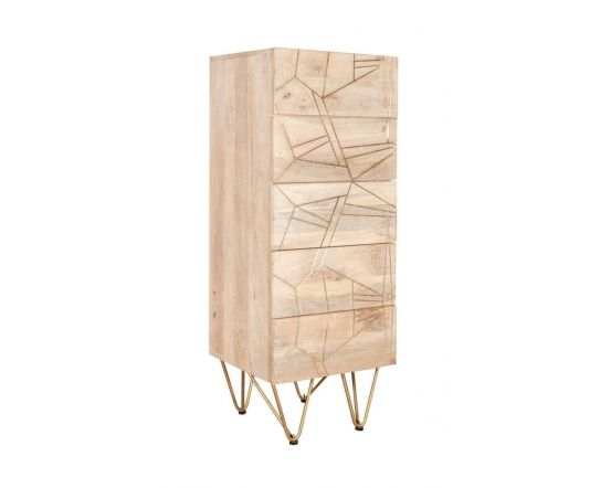 Sai Light Gold Tallboy Chest With Gold Inlay