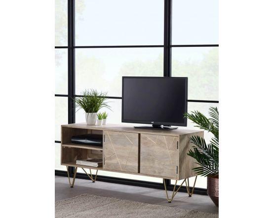 Sai Light Gold TV Unit With Gold Inlay