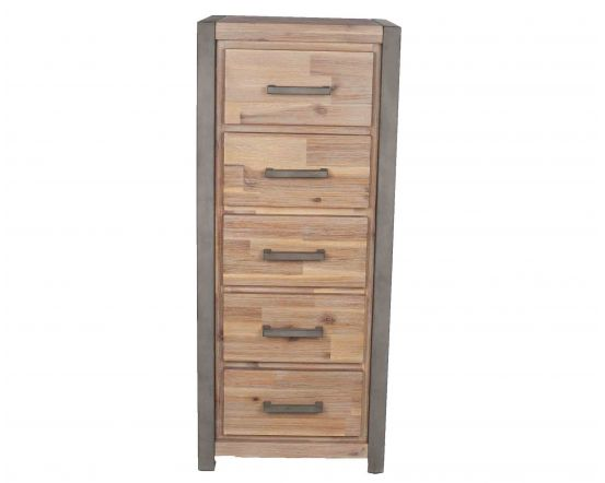 Salvatore Acacia Wood 5 Drawer Tallboy