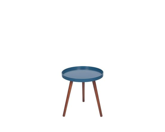 Sapphire Blue and Pine Round Side Table