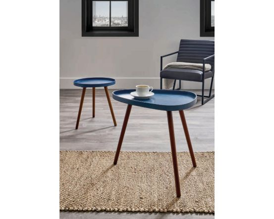Sapphire Blue and Pine Teardrop Side Table