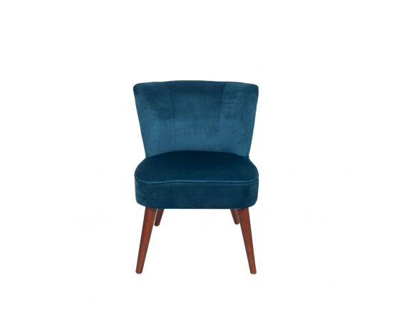Sapphire Blue Velvet Cocktail Chair with Walnut Finished Legs