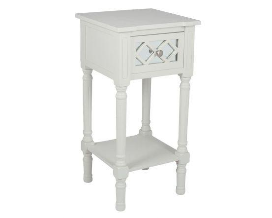 Sara Ivory Mirrored Pine Side Table