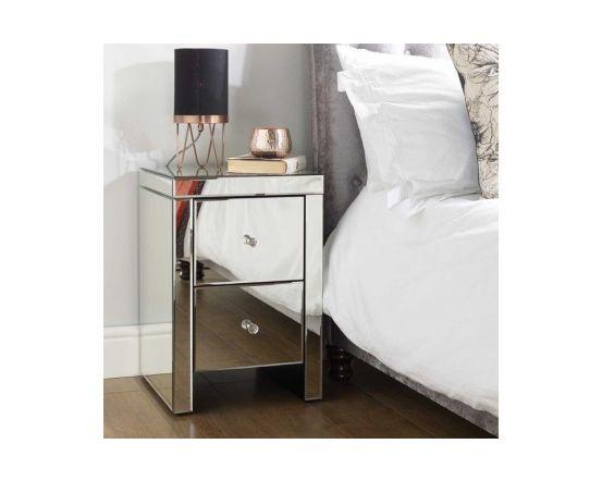 Savannah Mirrored 2 Drawer Bedside Cabinet