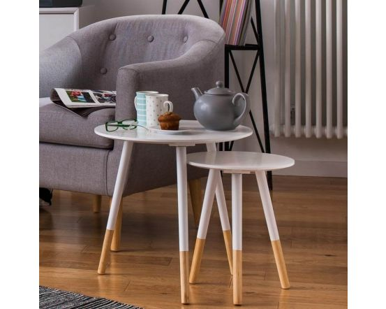 Scandinavian Inspired Set of Two Side Tables