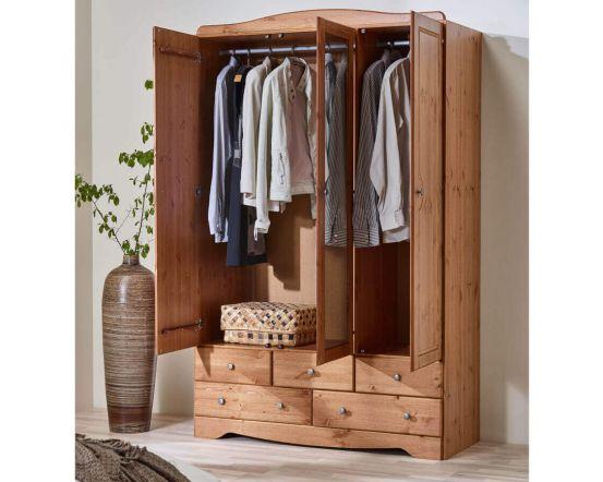 Scandinavian Pine 3+5 Wardrobe with Mirror