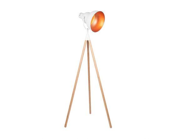 Scandinavian White and Natural Wood Tripod Floor Lamp