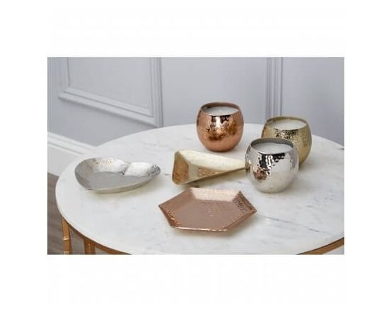 Set of 3 Copper Gold and Silver Candles