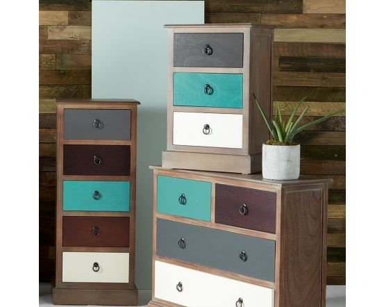 Shabby Natural Driftwood Coloured 3 Drawer Bedside