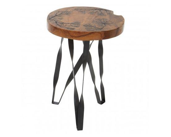 Shakir Round Iron Stool/Side Table