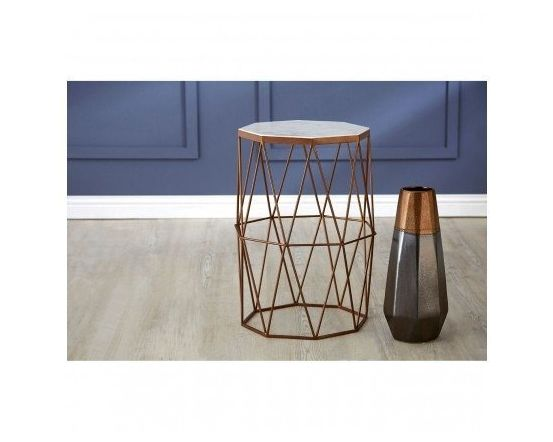 Shazaar Dark Copper And Marble Side Table