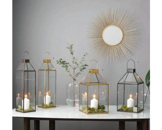 Shiny Brass Metal & Glass Square Candle Holder Lantern