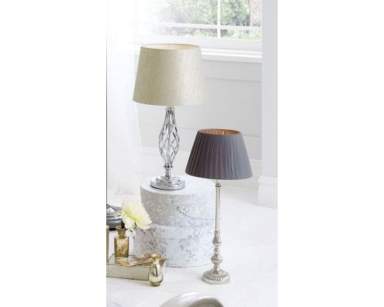 Silver Metal Traditional Table Lamp with Silver Shade