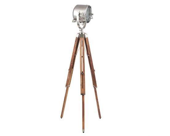Silver Metal Adjustable Tripod Floor Lamp with Brown Wooden Base