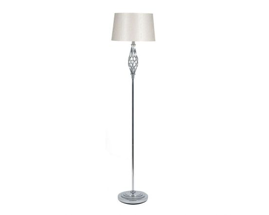 Silver Nickel Metal Twisted Detail Floor Lamp