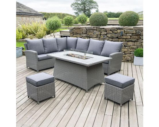 Slate Grey Barbados Corner Set Long Right with Fire Pit