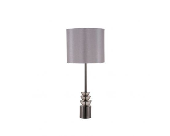 Smoke Glass and Pewter Silhouette Tall Table Lamp