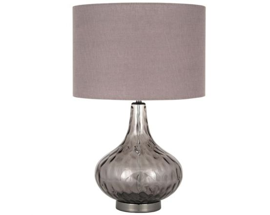 Smoke Glass Dimple Table Lamp With Grey Shade