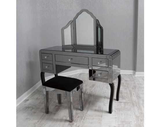 Smoked Glass Mirrored Dressing Table