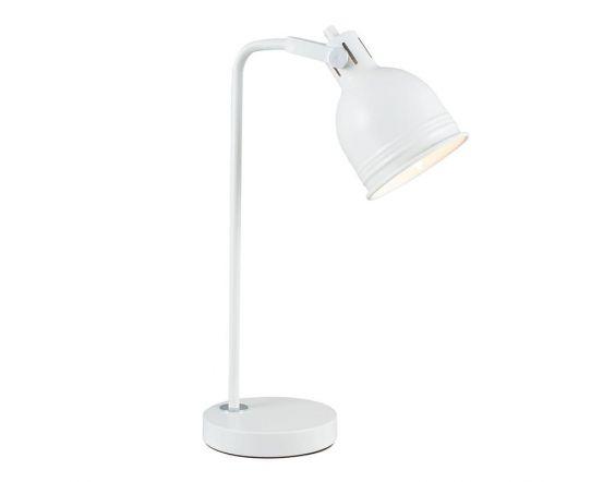 Soft White Metal & Silver Detail Task Table Lamp
