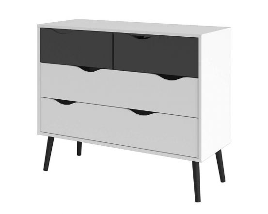 Stockholm Chest of Drawers in White With Black or Oak