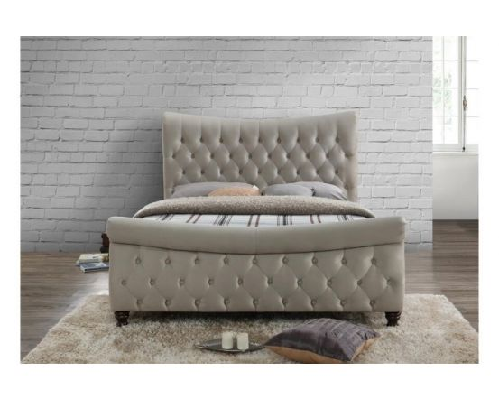 Stockholm Fabric Warm Stone King Size Bed Frame