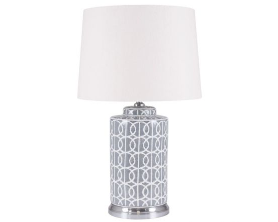 Tall Grey and White Geometric Pattern Table Lamp