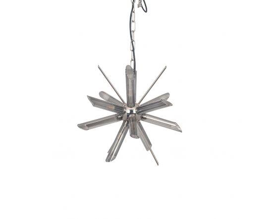 Tariq Smoke Glass and Silver Metal Starburst Pendant