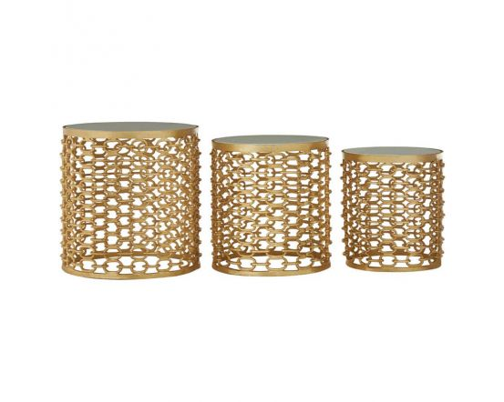 Temple Set of 3 Side Tables In Gold