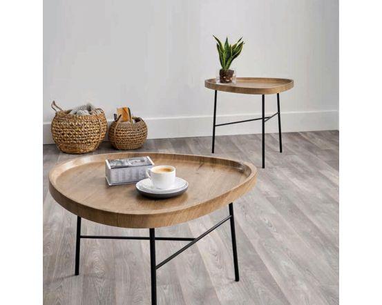 Teardrop Oak Effect and Black Metal Coffee Table