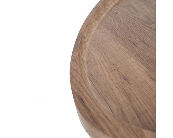 Teardrop Oak Effect and Black Metal Side Table