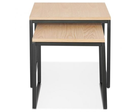 Therese Natural Wood and Black Set of 2 Tables